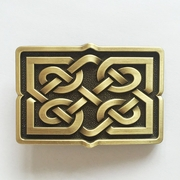 New JEAN'S FRIEND Original Vintage Bronze Plated Celtic Cross Knot Rectangle Belt Buckle