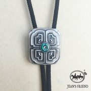New JEAN'S FRIEND Original Lucky Cross Knot Bolo Tie Necklace With Sky Systems Jewelry Fiber Braided Rope