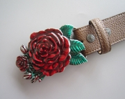 3D Sculpting Rose Flower Western Belt Buckle W Brown Synthetic Leather Belt