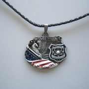 American Hero Police Officer Metal Charm Pendant Leather Necklace