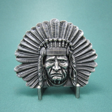 New Vintage Silver Plated Chief Legend Western Belt Buckle Gurtelschnalle Boucle de ceinture