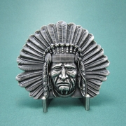 New Vintage Silver Plated Native Chief Legend Western Belt Buckle Gurtelschnalle Boucle de ceinture