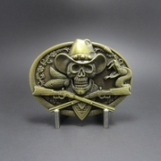 New Vintage Bronze Plated Skull Rifles Cowboy Metal Oval Belt Buckle Gurtelschnalle Boucle de ceinture