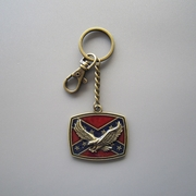 Vintage Bronze Plated Fly Eagle On Flag Metal Charm Pendant Key Ring Key Chain