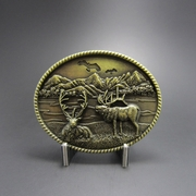 New Original Vintage Bronze Plated Deer Wild Life Western Oval Belt Buckle Gurtelschnalle Boucle de ceinture