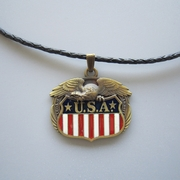 Antique Bronze Plated Fly Eagle Flag Metal Charm Pendant Leather Necklace