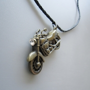 Antique Bronze Plated Motorcycle Rhinestone Spinner Metal Charm Pendant Leather Necklace