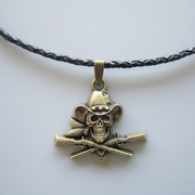 Antique Bronze Plated Skull Pirate Cowboy Western Metal Charm Pendant Leather Necklace