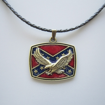 Antique Bronze Plated Western Eagle Flag Metal Pendant Charm Leather Necklace