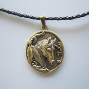 Antique Bronze Plated Western Horse Oval Metal Charm Pendant Leather Necklace