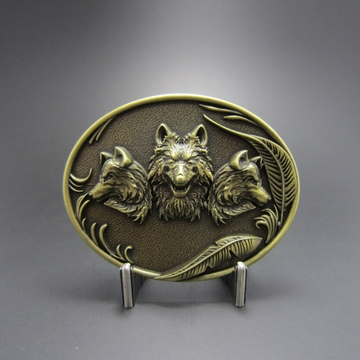 New Antique Bronze Plated Western Wolves Oval Belt Buckle