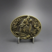 New Classic Antique Bronze Plated Wolf Wildlife Western Oval Belt Buckle