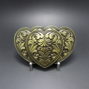 New Vintage Bronze Plated Triple Hearts Western Rodeo Belt Buckle Gurtelschnalle Boucle de ceinture