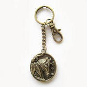 Vintage Bronze Plated Western Horse Metal Charm Pendant Oval Key Ring Key Chain