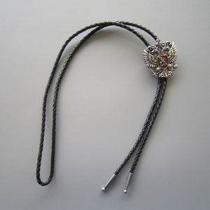 New Original Antique Real Silver Plated Russian Double Headed Empire Eagle Rhinestone Wedding Bolo Tie Leather Necklace
