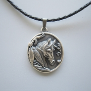Antique Silver Plated Western Horse Oval Metal Charm Pendant Leather Necklace