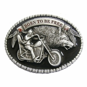 New Vintage Enamel Born to Be Free Motorcycle Biker Rider Oval Belt Buckle Gurtelschnalle Boucle de ceinture