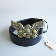 Bronze Plated Bad to the Bone Eagle Skull Belt Buckle W Black Genuine Leather Belt G��rtel