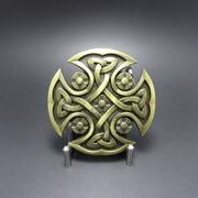 Jeansfriend New Vintage Bronze Plated Celtic Knot Iron Cross Belt Buckle