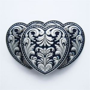 New Blue Enamel Triple Hearts Western Rodeo Belt Buckle Gurtelschnalle Boucle de ceinture