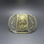 New Vintage Bronze Plated Tiger Guns Lighter Belt Buckle Gurtelschnalle Boucle de ceinture BUCKLE-LT016