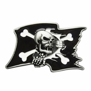 New Black Enamel Pirate Skull Flag Vintage Belt Buckle Gurtelschnalle Boucle de ceinture