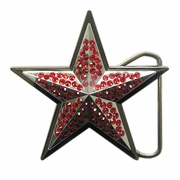 Red Rhinestones Double Star Belt Buckle Gurtelschnalle Boucle de ceinture