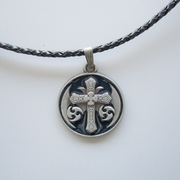 Blue Enamel Iron Cross Totem Metal Charm Pendant Leather Necklace