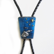 Jeansfriend New Blue Enamel Nation Native Flag Gold Star Bolo Tie Leather Necklace