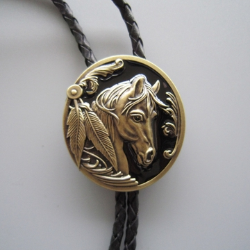 Antique Bronze Plated Western Horse Head Oval Bolo Tie Leather Necklace