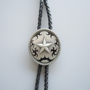 Jeansfriend New Vintage Original Western Oval Star Wedding Bolo Tie Leather Necklace