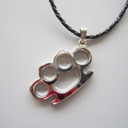 Bright Silver Four Ring Shape Pendant Charm Braided Leather Necklace