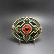 New Classic Antique Bronze Plated Cross Celtic Knot Southwest Enamel Oval Belt Buckle