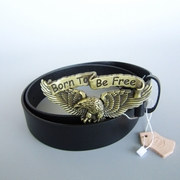 Bronze Plated Born to be Free Eagle Rider Biker Belt Buckle W Black Genuine Leather Belt G��rtel
