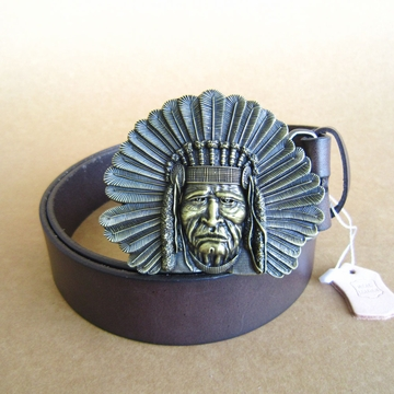 Vintage Bronze Plated Classic Native Chief Belt Buckle W Dark Coffee Color Genuine Leather Belt Gurtel