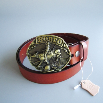 Bronze Plated Cowboy Rodeo Bull Race Western Belt Buckle W Brown Genuine Leather Belt G¨¹rtel