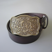 Bronze Plated Craft Flower Western Belt Buckle W Dark Coffee Color Genuine Leather Belt G��rtel