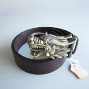 Bronze Plated Dragon Belt Buckle W Dark Coffee Color Genuine Leather Belt G��rtel