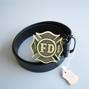 Bronze Plated FD Fire Firefighter Belt Buckle W Black Genuine Leather Belt G��rtel