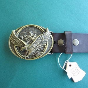 Bronze Plated Fly Eagle Oval Belt Buckle W Dark Coffee Color Genuine Leather Belt G¨¹rtel