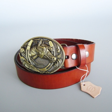 Bronze Plated Horse HorseShoe Oval Belt Buckle W Brown Genuine Leather Belt G¨¹rtel