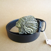 Bronze Plated Native Chief Belt Buckle W Black Genuine Leather Belt Gurtel