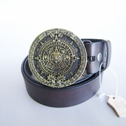 Bronze Plated Original Aztec Calendar Round Belt Buckle W Dark Coffee Color Genuine Leather Belt G��rtel