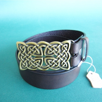Bronze Plated Original Cross Knot Rectangle Belt Buckle W Dark Coffee Color Genuine Leather Belt G¨¹rtel