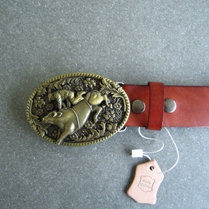 Bronze Plated Rodeo Bull Oval Belt Buckle W Brown Genuine Leather Belt G¨¹rtel
