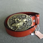 Bronze Plated Rodeo Bull Oval Belt Buckle W Brown Genuine Leather Belt G��rtel
