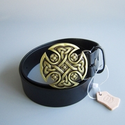 Bronze Plated Round Celtic Keltic Cross Knot Belt Buckle W Black Genuine Leather Belt G��rtel