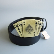 Bronze Plated Royal Flush Spade Casino Lighter Belt Buckle W Black Genuine Leather Belt G��rtel