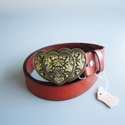 Bronze Plated Triple Heart Love Belt Buckle W Brown Genuine Leather Belt G��rtel