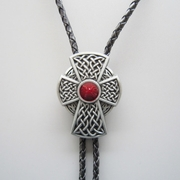 New Red Enamel Vintage Celtic Iron Cross Knot Bolo Tie Wedding Leather Necklace